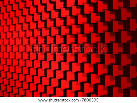 Abstract decoration with red cubes