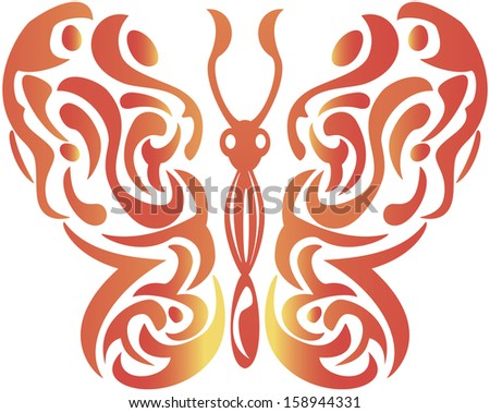 abstract decorative butterfly - raster copy illustration on white - stock photo