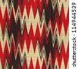 Abstract decorative herringbone zig zag shapes print on textured linen canvas fabric background. Seamless pattern. Illustration. - stock photo