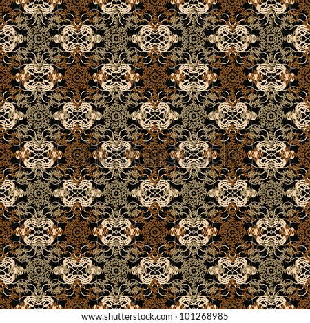 Abstract decorative lace grid ornament weaving fabric background. Seamless pattern. Illustration. Raster version.