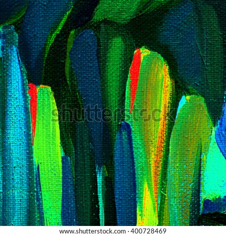 abstract decorative painting by oil on canvas for  interior, illustration - stock photo