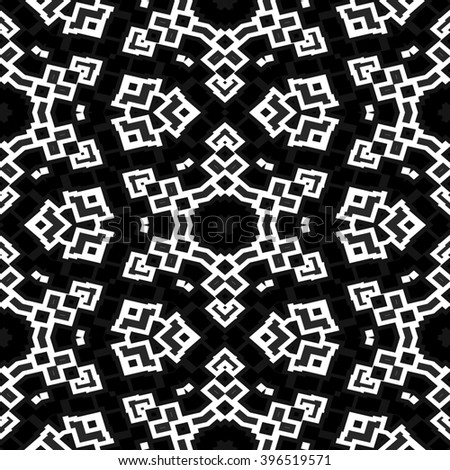 Abstract decorative seamless floral black white pattern - stock photo