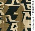 Abstract decorative textured urban geometric illusion print background. Seamless pattern. Illustration. - stock photo