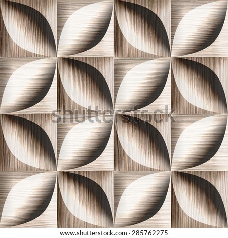 Abstract decorative tiles stacked for seamless background - Blasted Oak Groove wood texture - stock photo