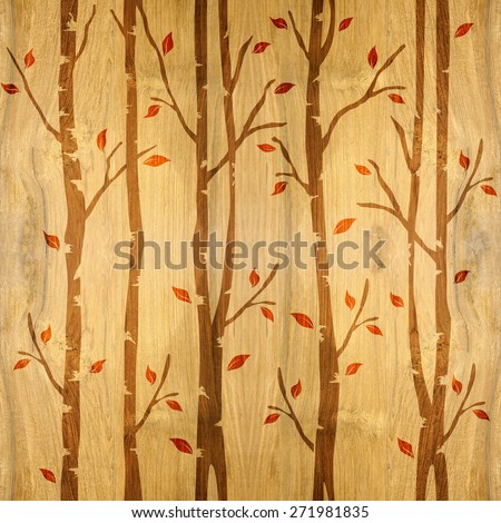 Abstract decorative trees alley - Interior wall panel pattern - wrapping paper - seamless background - wooden texture - Continuous replication