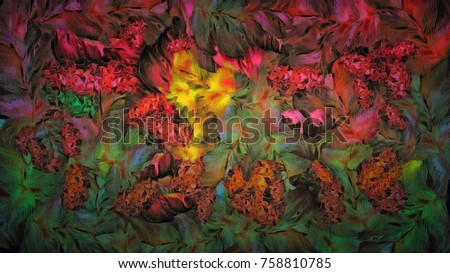 abstract decorative vintage texture, pattern background of large paint smears, computer generated colorful flower decor Design for tapestry, wallpaper,