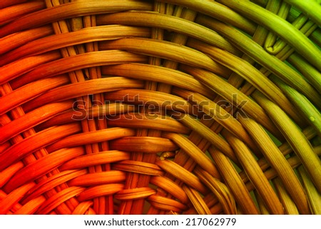 Abstract decorative wooden striped textured basket weaving - stock photo