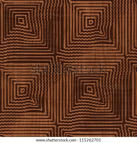 Abstract decorative wooden striped textured geometric illusion. Seamless pattern. Illustration. - stock photo