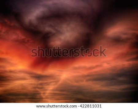 abstract deep effect filter of storm cloud in evening sky