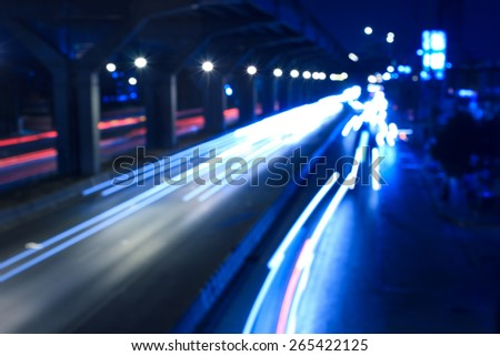 abstract defocused and long exposure transportations  city light night in Thailand - stock photo