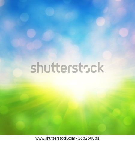 Abstract defocused nature background with bokeh lights. - stock photo