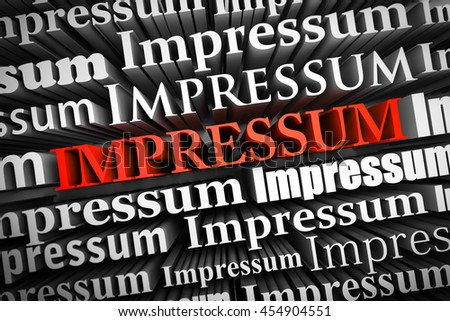 Abstract demonstration of Impressum as 3D rendering - stock photo