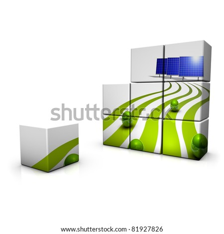 Abstract demonstration of solar energy in 3D - stock photo