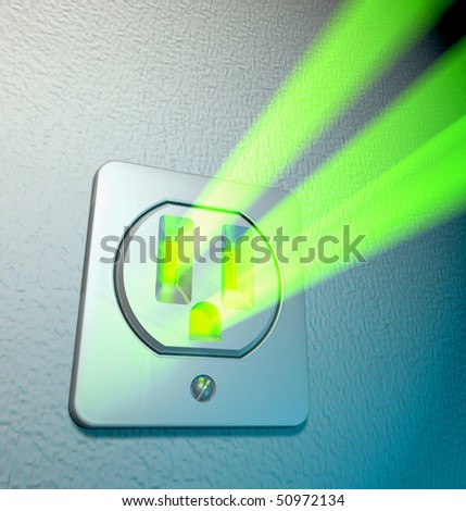 Abstract depiction of green energy coming out from a socket at a white wall - stock photo