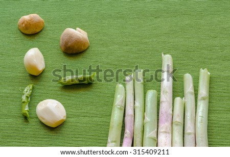 abstract design background vegetables on green background - stock photo