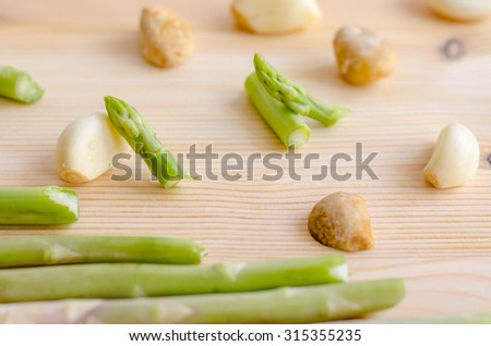 abstract design background vegetables on wooden background - stock photo