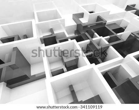 Abstract design background with black and white chaotic cells structure, 3d illustration