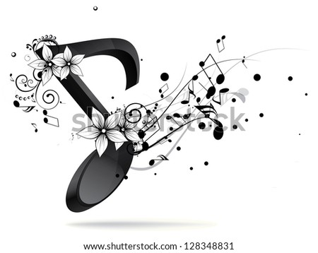 Colorful Musical Notes Black Background With Colorful Music Notes