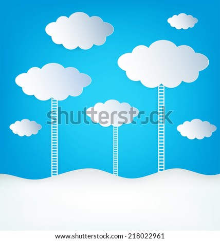 Abstract design Clouds With Ladder On Blue Background