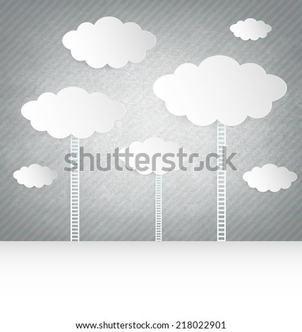 Abstract design Clouds With Ladder On gray Background