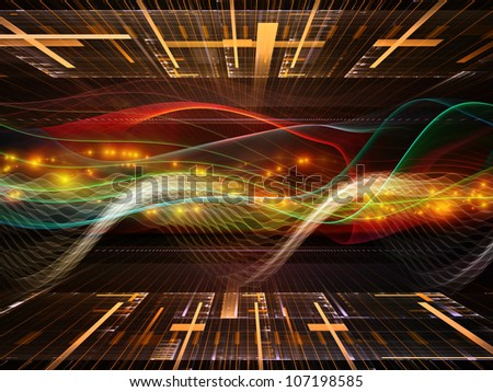 Abstract design made of abstract sine waves and design elements on the subject of modern computing, virtual reality and signal processing