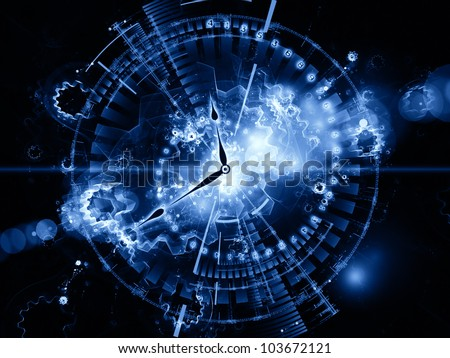 Abstract design made of clock hands, gears, lights and numbers on the subject of time sensitive issues, deadlines, scheduling, computational processes, digital technologies, past, present and future - stock photo
