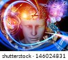 Abstract design made of cutout of male head and symbolic elements on the subject of human mind, consciousness, imagination, science and creativity - stock photo
