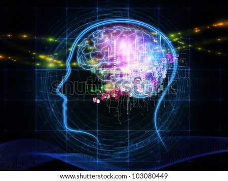 Abstract design made of head outlines, lights and abstract design elements on the subject of intelligence,  consciousness, logical thinking, mental processes and brain power