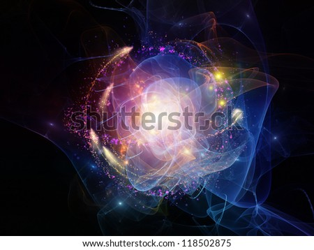 Abstract design made of lights, fractal flames and abstract elements on the subject of technology and design - stock photo