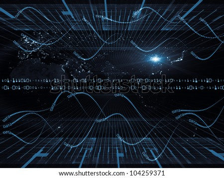 Abstract design made of lights, numbers, grids and satellite imagery (courtesy of NASA) on the subject of science, global computing and communication technologies - stock photo