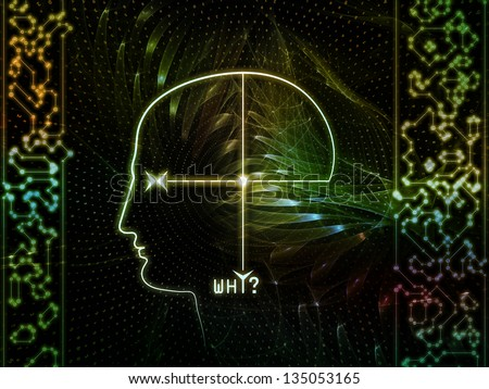 Abstract design made of outline of human head and symbolic elements on the subject of knowledge, science, technology and education - stock photo