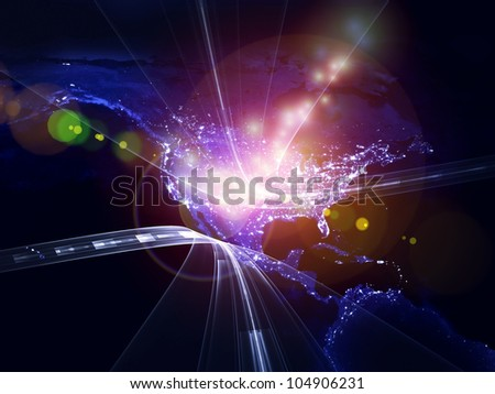 Abstract design made of satellite imagery (courtesy of NASA) and abstract design elements on the subject of Internet, global communications and information technologies - stock photo