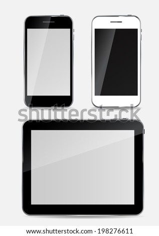 Abstract Design  Mobile Phone and Tablet PC.  Illustration - stock photo
