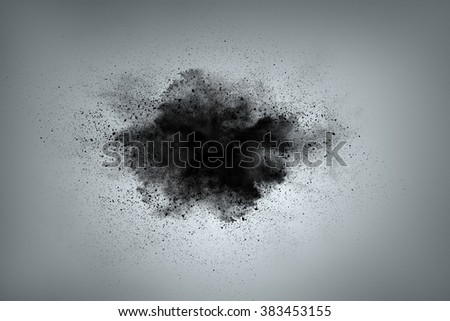 Abstract design of black powder cloud against gray background - stock photo