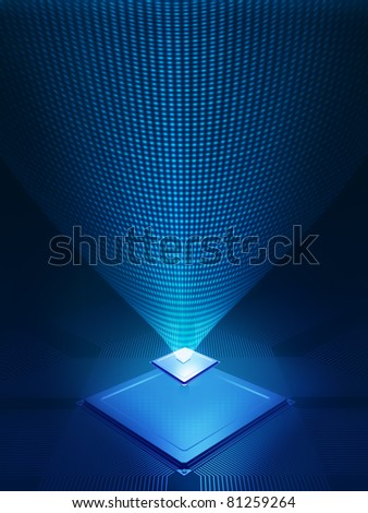 Abstract design of electronic chip and data / communication / technology - stock photo