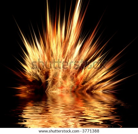 Abstract design of fire explosion in water - stock photo