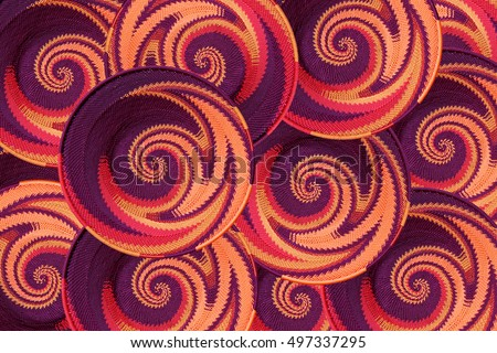 Abstract design of hand made wire baskets by African Cratsmen as a background