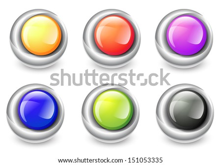Abstract Design of Multicolored Round Glossy Balls in Metal Frames - stock photo