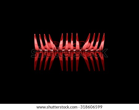 Abstract design of shiny red metal fork utensils on clean black background. - stock photo