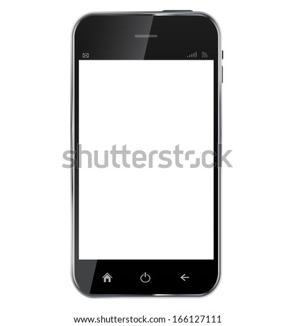 Abstract design  realistic mobile phone with blank screen isolated on white background..  illustration - stock photo