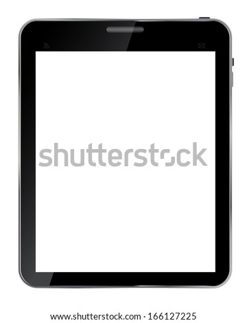 Abstract design  realistic tablet with blank screen isolated on white background..  illustration