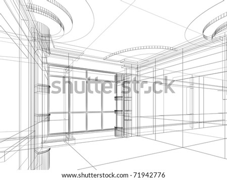 abstract design sketch of modern office interior - stock photo