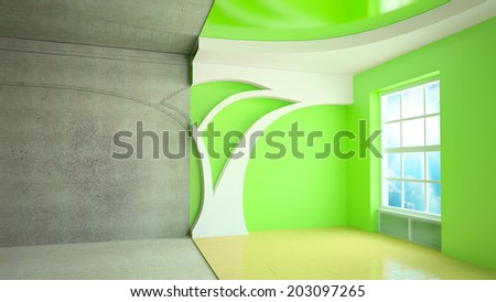 abstract design sketch of room interior. 3D plan drawing - stock photo