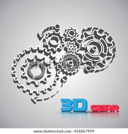 Abstract design template background with 3D gears cogwheels for websites, infographics or business design banners. illustration. - stock photo
