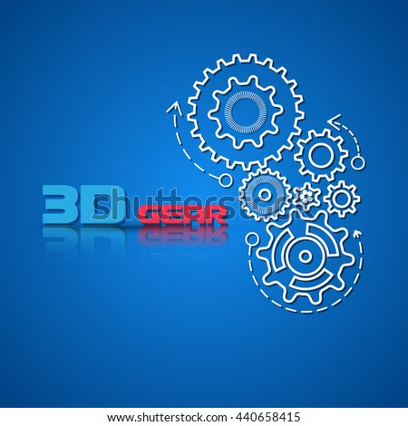 Abstract design template background with gears cogwheels for websites, infographics or business design banners. illustration. - stock photo