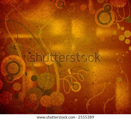 abstract design with circles and foliage on brown old textured paper
