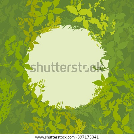 Abstract design with green leaf silhouette card for your text in circle.  - stock photo