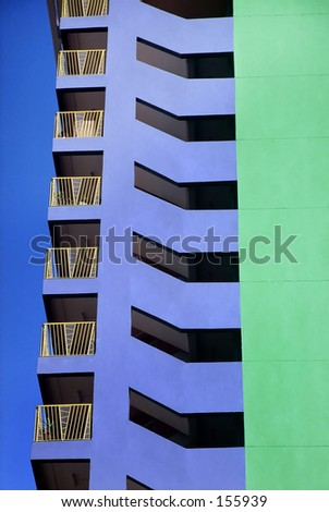 Abstract detail of high rise residential building, Singapore - stock photo