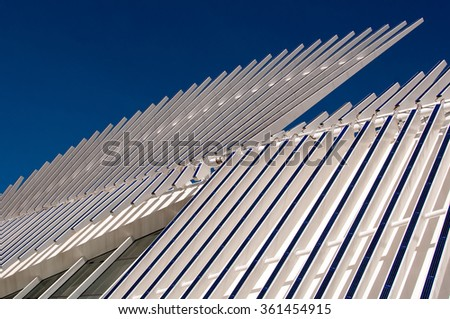 Abstract Detail of Modern Architecture with Solar Panels