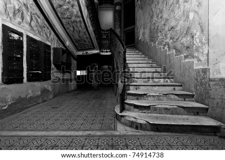Abstract detail of rustic stairs in Old downtown building interior